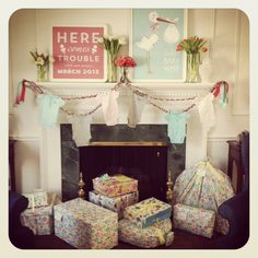 @Heather Born to party  Baby Shower Decorations: custom prints by #whhostess and a onesie garland  #thepartydressblog