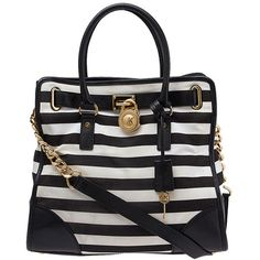 Pre-owned Michael Michael Kors Hamilton Black & White Striped Canvas... ($173) ❤ liked on Polyvore