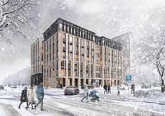 visualization of Residential project in Moscow. 3d Visualization, Street View, Projects, Outdoor, Log Projects, Outdoors, Blue Prints, Outdoor Games, The Great Outdoors