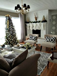 Gather with friends and family in this stunning living room decorated for #Christmas.