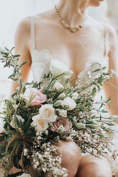 wedding flowers - photo by Hazelwood Photo http://ruffledblog.com/vintage-romance-inspired-boudoir-shoot