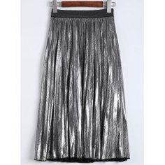 #trendsgal.com - #Trendsgal Metallic Color Pleated Midi Skirt - AdoreWe.com