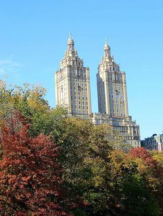 The beautiful San Remo, a 27-story luxury cooperative apartment building at 145 and 146 Central Park West, as seen rising over Central Park in New York City. November 2, 2013.