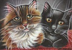 Cuddling Kitties Acrylic Painting
