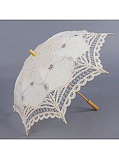 Vintage Ivory Cotton Lace Flower Girl Parasol with Wood Post Handle - USD $19.99