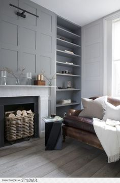 grey shelves and wall panelling by cassandra ellis interior design - perfect set up for fireplace in family room. Home Living Room, Living Room Designs, Living Room Decor, Living Spaces, Apartment Living, Living Room Scandinavian, Scandinavian Interiors, Scandinavian Fireplace, Grey Interiors