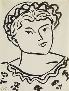 Henri Matisse (1869-1954) Tête d'une jeune fille signed and dated 'HMatisse Juil.47' (lower left) brush and India ink on paper 21¾ x 16 in. (52.8 x 40.6 cm.) Executed in July 1947