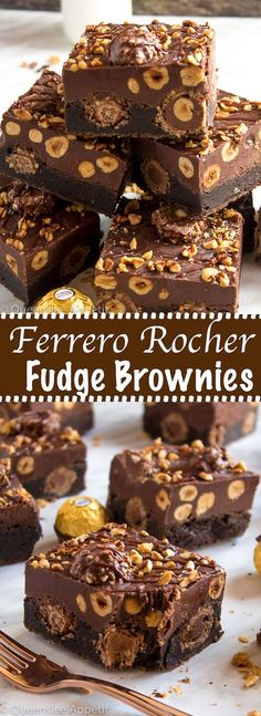 These Ferrero Rocher Fudge Brownies are the ultimate dessert bars! A Ferrero Rocher stuffed fudge brownie, topped with a creamy Nutella Fudge filled and topped with Ferrero Rochers and roasted hazelnuts. Take these bars to another level with a drizzle of Fudge Brownies, Nutella Fudge, Nutella Ganache, Best Brownies, Chocolate Brownies, Brownies With Nutella, Ultimate Chocolate Fudge Cake, Ferrero Nutella, Death By Chocolate