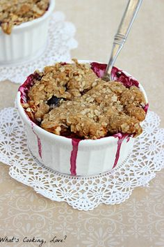 This Blueberry Apple Crumble is a great dessert for two. It combines fresh blueberries and apples and makes a great apple crisp in two individual servings.