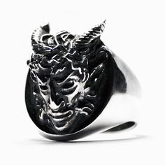 Satyr ring by Macabre Gadgets: oxidised sterling silver (925) Available at STORE-MACABREGADGETS.COM #satyr #pan