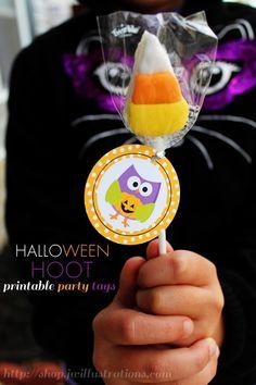 Printable Halloween Owl Party Tags - JW Illustrations  http://shop.jwillustrations.com/halloween-hoot-tags.html