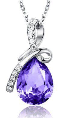 Amazon.com: ARCO IRIS Eternal Love Teardrop Swarovski Elements Crystal Pendant Necklace for Women W 18k White Gold Plated Chain Tanzanite Purple - 2101802: Jewelry