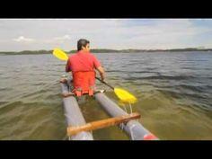 """玩野之处男腥号 diy kayak by using 8"""" pvc pipe, alluminium bowl as pipe cap, sillicone glue, pine wood, plastic chair....within a day."""