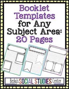 Book Templates for Any Subject Area - Use this 20 page resource with your 3rd, 4th, 5th, 6th, or 7th grade classroom or homeschool students. These graphic organizers are great for students to create their own writing and illustrations. The different frames make them visually appealing for use with your reading, writing, science,  math, or social studies lessons. {third, fourth, fifth, sixth, seventh graders - upper elementary - middle school} $