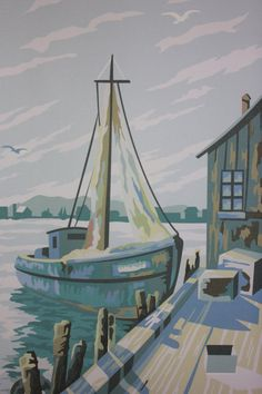 Paint by Number Harbor Scene Graphic Window Shade by apartmentb, $120.00