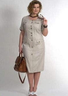 Models of summer dresses for puffy ladies 2017 . 60 Fashion, Plus Size Fashion, Fashion Dresses, Womens Fashion, Office Dresses For Women, Summer Dresses For Women, Linen Dresses, Casual Dresses, African Print Fashion