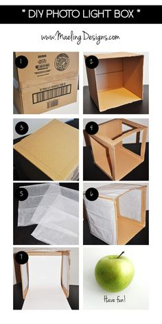 DIY Photo Light Box Steps - Photography, Landscape photography, Photography tips Food Photography Tips, Photography Lessons, Light Photography, Photography Tutorials, Creative Photography, Product Photography Lighting, Photography Lightbox, Photography Equipment, Photography Backdrops