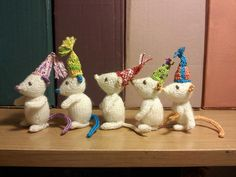 It's a party! Marisol the Knitted Mouse by Rachel Carroll - just  too cute to resist knitting these.