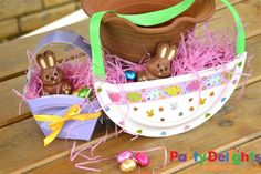 Get ready for Easter with these adorable Paper Plate baskets. The Easter count down is on!!! Love that you get two paper plate craft ideas here! One for toddlers and  one for you. Great for Party favours too!