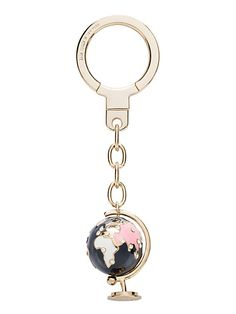 globe keychain, clear/gold, large 49