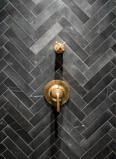 Grey Chevron ~ Soapstone Tiles - Unlacquered Brass Shower Valves Tile for Casitas shower Shower Tile, Grey Chevron, Tiles, Soapstone Tile, Nyc Loft, Herringbone Tile, Bathroom Decor, Beautiful Bathrooms, Bathroom Inspiration