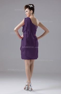 Violet Cocktail Dress - Cute Sheath Sleeveless Backless Knee Length Short