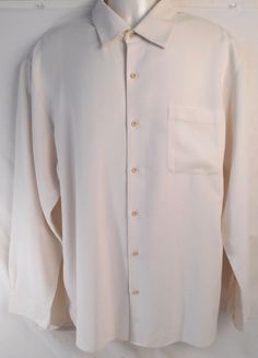 NAT NAST Shirt Mens Long Sleeve Button Front Size L Luxury Originals Beige Silk #NatNast #ButtonFront