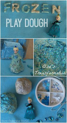 Transform your Elsa doll into a stunning ice Queen with this pretty, glittery homemade play dough Frozen Activities, Princess Activities, Playdough Activities, Craft Activities, Toddler Activities, Preschool Crafts, Preschool Activities, Frozen Playdough, Homemade Playdough