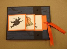 handmade Halloween card ... fun waterfall format pulls to the side ... black, white and orange ...