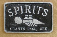 """ Spirits "" in Grants Pass Oregon Aluminum Car Club Plaque"