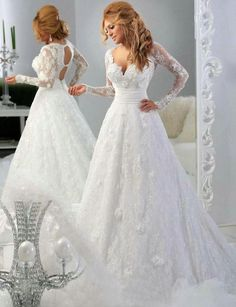 Simple #Lace #Wedding #Dresses Full Sleeves A Line Sweep Train Elegant Lace Wedding Dresses Sweetheart Neckline Sheer Vintage Keyhole Back Bridal Gowns Appliques Gowns Dresses From Sweetlife1, $137.74| Dhgate.Com