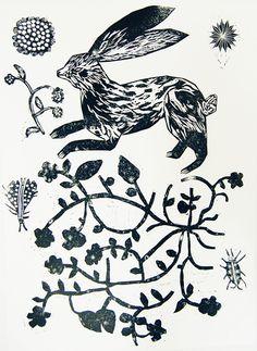 cornelia odonovan, hare, rabbit, nature, lino, printmaking, design, illustration, drawing, flowers, linocut