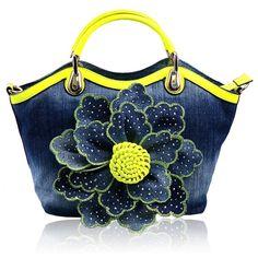 Kaxidy Ladies Girls Womens Denim Handbags Jean Flower Bag Shoulder Bag Shopper Messenger Tote Bags (Back): Handbags: Amazon.com