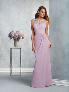 Alfred Angelo Style 7407: floor length bridesmaid dress with sheer lace yoke and softly draped fluted skirt