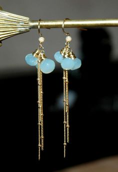 Onion Cut Powder Blue Chalcedony Gemstone Earrings with 14k Gold Filled Ball Chain and Ear Wires