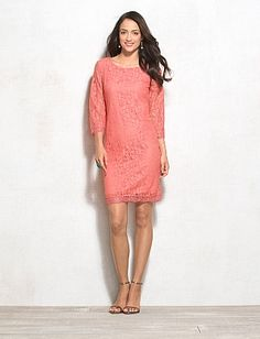 Coral Lace Shift Dress
