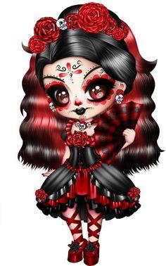 New gothic fantasy art fairies goth ideas Gothic Fantasy Art, Gothic Fairy, Anime Chibi, Manga Anime, Voodoo Doll Tattoo, Los Muertos Tattoo, Sugar Skull Artwork, Desenho Pop Art, Sugar Skull Girl
