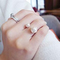 R293 النساء حلقات anillos الأزياء والمجوهرات مقلد اللؤلؤ 18kgp للتعديل آنيل الزفاف الاشتباك البنصر 2016