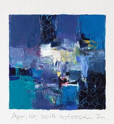 Apr. 14, 2015 - Original Abstract Oil Painting - 9x9 painting (9 x 9 cm - app. 4 x 4 inch) with 8 x 10 inch mat