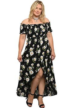 Plus Size Floral Daisy Off The Shoulder High Low Womens Maxi Dress Curvy Outfits, Classy Outfits, Chic Outfits, Modest Fashion, Fashion Dresses, Steampunk Fashion, Gothic Fashion, Plus Size Dresses, Plus Size Outfits