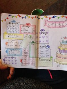 My birthday reminder pages in my bullet journal. Love this layout - adapted from a pic of Xmas presents I saw. #bujo #birthdays #bulletjournal