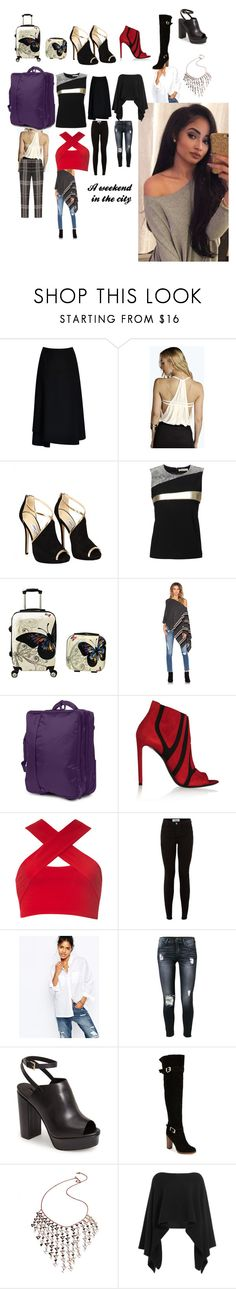 """What's in my bags"" by denibrad ❤ liked on Polyvore featuring Tome, Boohoo, Jimmy Choo, Bouchra Jarrar, 27 Miles, Lipault, Balenciaga, Motel, Abercrombie & Fitch and 7 For All Mankind"