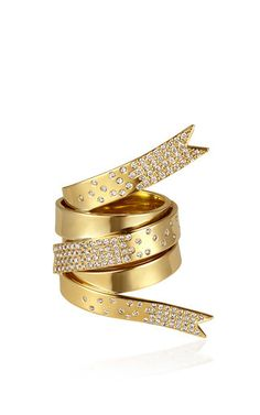 Line Ribbon Ring With White Diamonds by ELENA VOTSI for Preorder on Moda Operandi