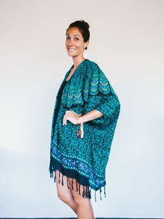 Beach Boho Kimono in Dreamland <Teal Turquoise, Black, Pink Mandala Design> Gypsy Fashion, Bohemian Swag, Jacket Poncho