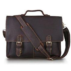 Kattee Twin Buckle Leather Messenger Bag Dark - Lychee grain genuine cow leather handbag