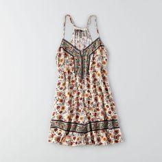 American Eagle Smocked Shift Dress ($40) ❤ liked on Polyvore featuring dresses, ivory, rayon dress, smocked dresses, boho print dress, bohemian style dresses and v neck shift dress