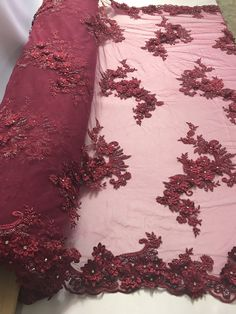 Shop Lace Fabric Burgundy Floral-Flower Design Embroider With Diamonds And Hand Beaded With On A Mesh Lace-Dresses-Bridal Accessories-Nightgown By Yard – 2019 - Lace Diy Hand Embroidery Dress, Embroidery Fabric, Lace Fabric, Pattern Fabric, Beaded Embroidery, Dear Costume, Western Dresses For Women, Kurti Designs Party Wear, Stylish Sarees