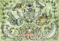 Feline Fish   original watercolour by changelingscloset on Etsy