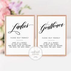 Bathroom Basket Wedding, Wedding Bathroom Signs, Diy Bathroom Baskets, Wedding Signs, Wedding Venues, Diy Wedding Programs, Wedding Bells, Wedding Decor, Rustic Wedding