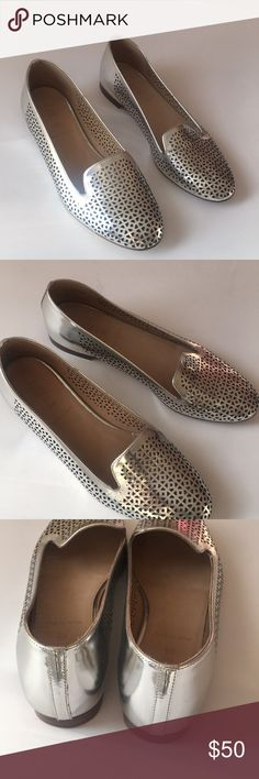 J.Crew mirror metallic 'Cleo' Loafers A feminine spin on the classic gentleman's smoking slipper. J.Crew recasts it in a slimmer, more flattering silhouette in a signature color. This pair's made from a custom-created, perforated metallic leather. Great condition!  Metallic leather upper. Leather lining. Made in Italy. Item A2410. J. Crew Shoes Flats & Loafers